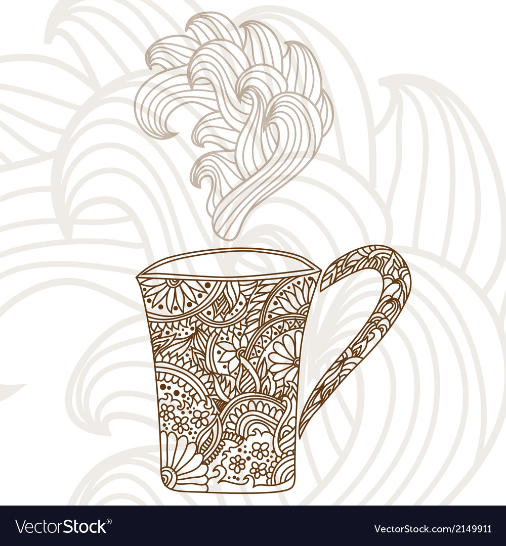 Decorative coffee cup vector | Price: 1 Credit (USD $1)