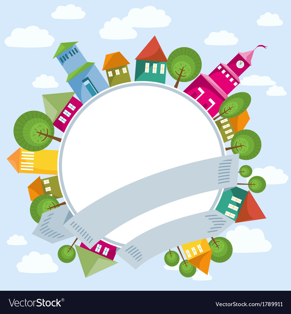Fantastic flying town and circle banner vector | Price: 1 Credit (USD $1)