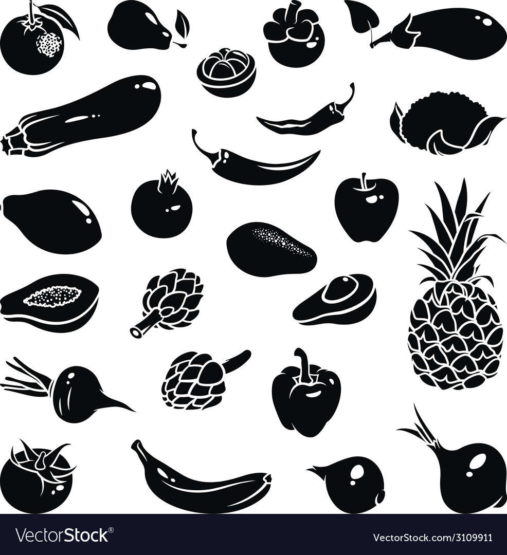 Fruits vegetables icons vector | Price: 1 Credit (USD $1)