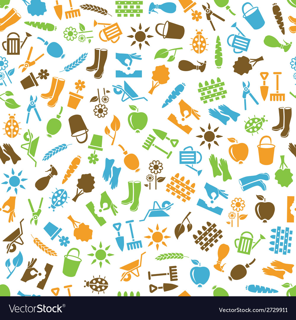 Garden seamless pattern vector | Price: 1 Credit (USD $1)