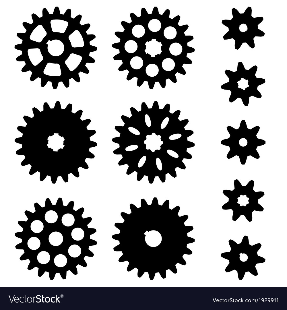 Gears set on a white background vector | Price: 1 Credit (USD $1)
