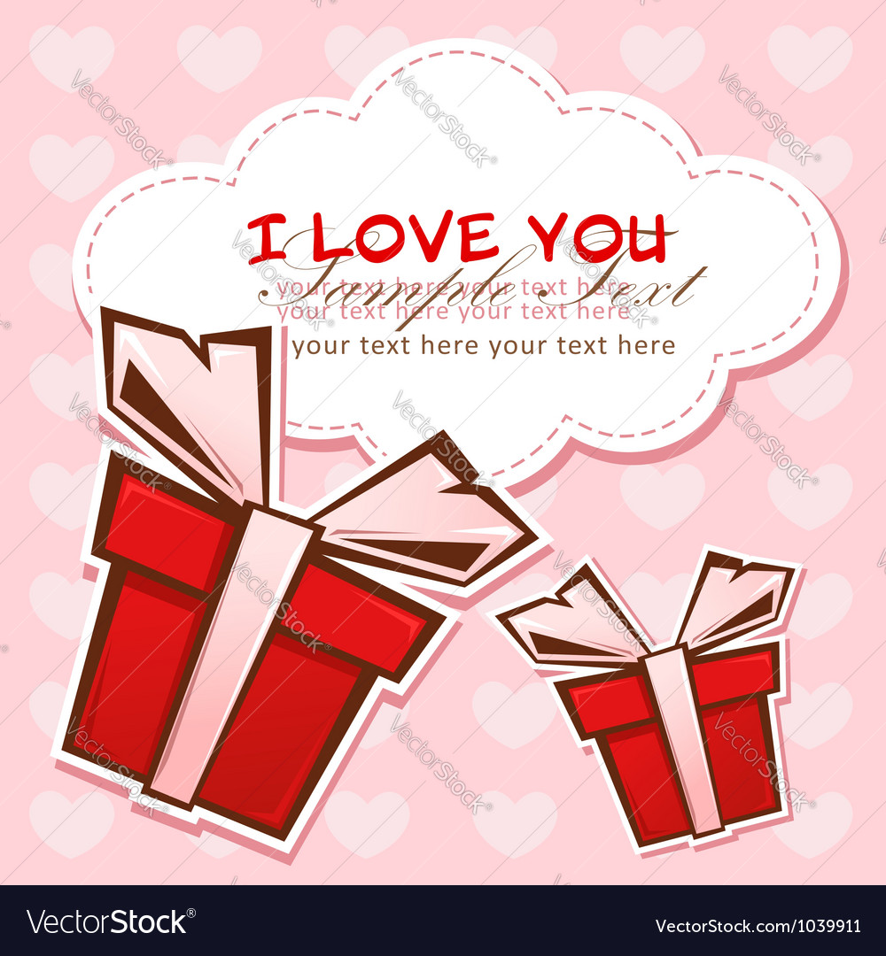 Love invitation card with colorful gift boxes vector | Price: 1 Credit (USD $1)