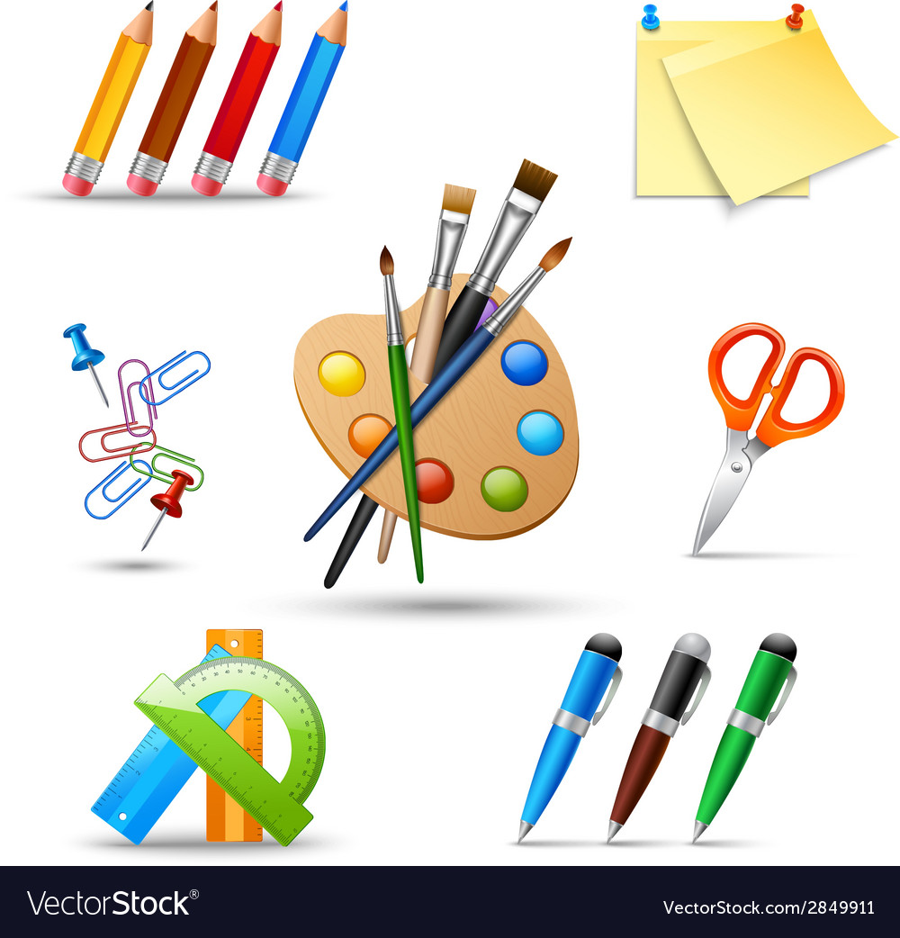 Paint tools set vector | Price: 1 Credit (USD $1)