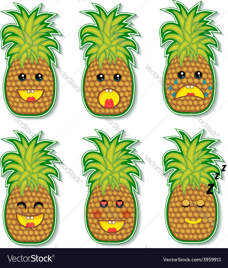 Pineapple face vector | Price: 1 Credit (USD $1)