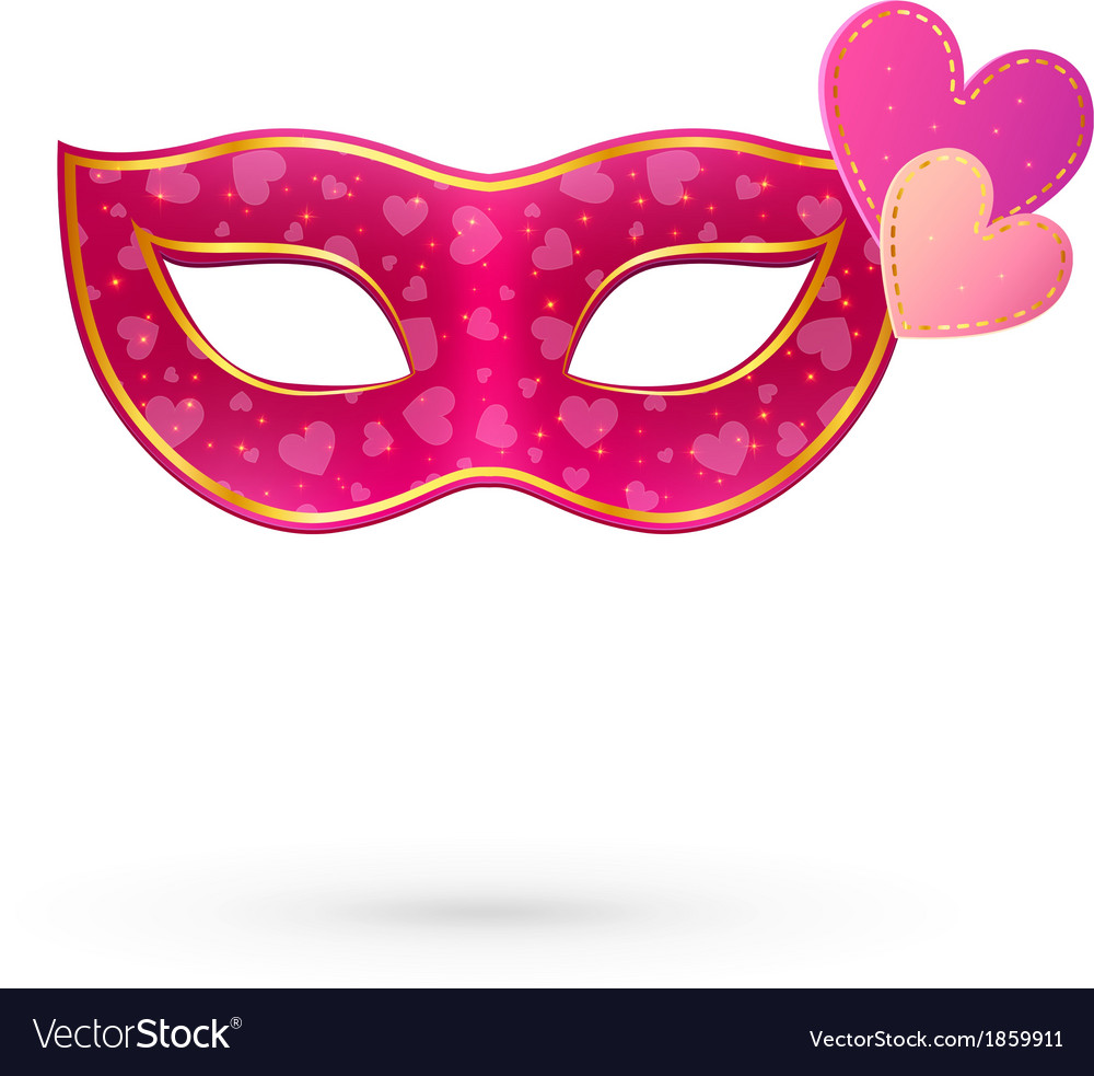 Pink carnival mask with hearts vector | Price: 1 Credit (USD $1)