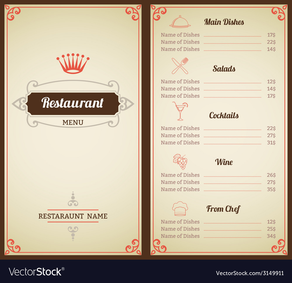 Restaurant menu template vector | Price: 1 Credit (USD $1)