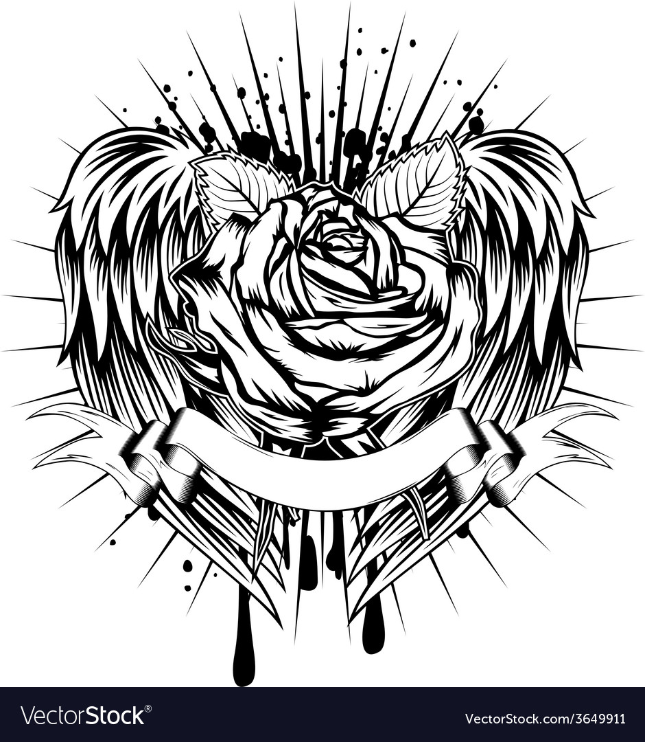 Rose and wings vector   Price: 1 Credit (USD $1)