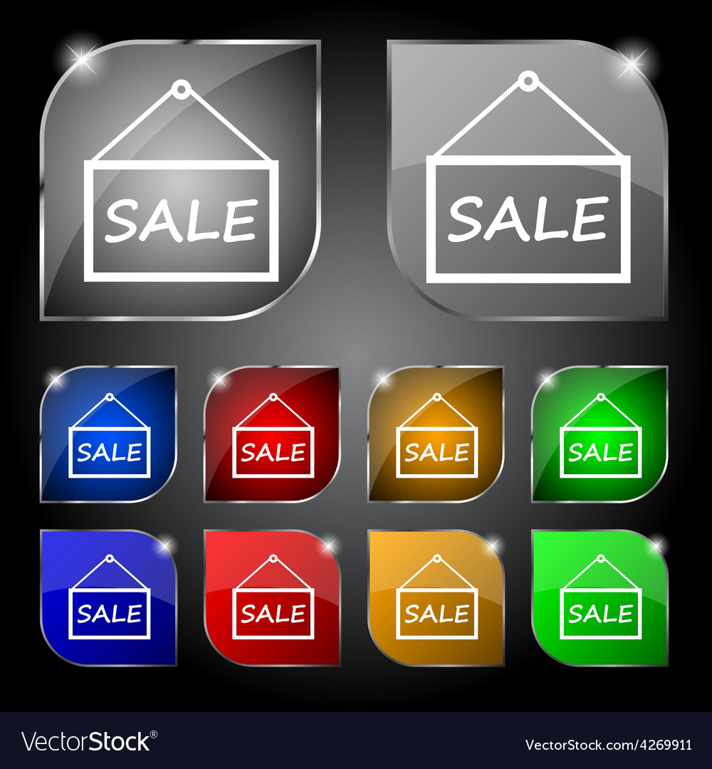 Sale tag icon sign set of ten colorful buttons vector | Price: 1 Credit (USD $1)