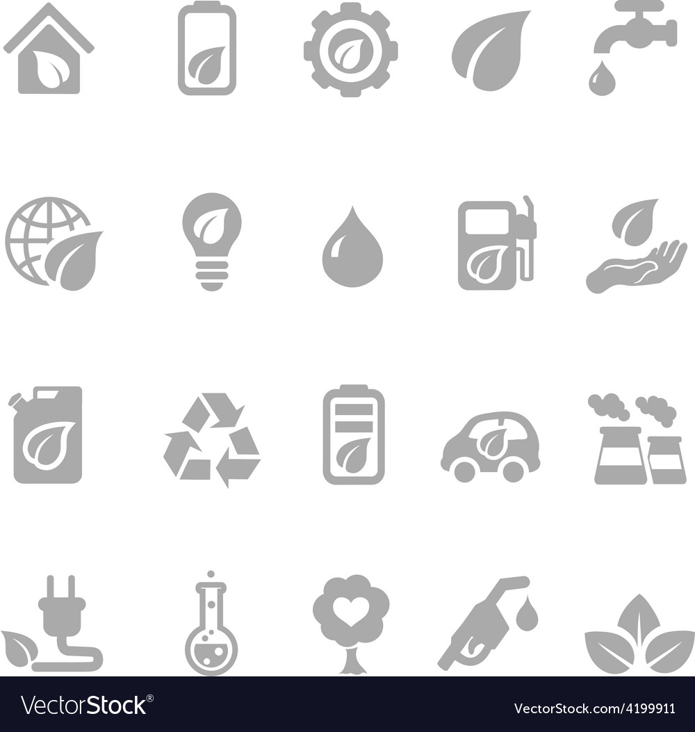 Set of eco energy icons with nuclear and solar vector | Price: 1 Credit (USD $1)