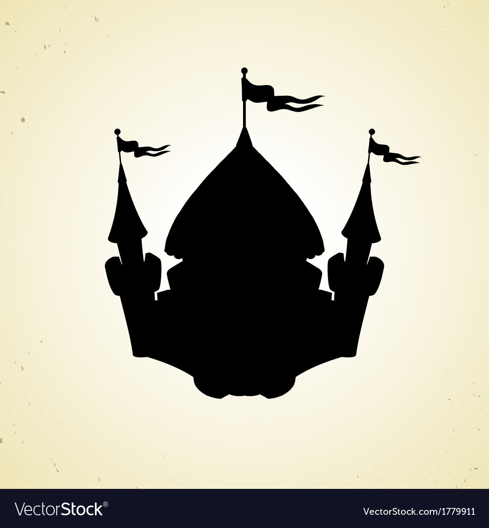 Silhouette of cartoon fortified castle with flags vector