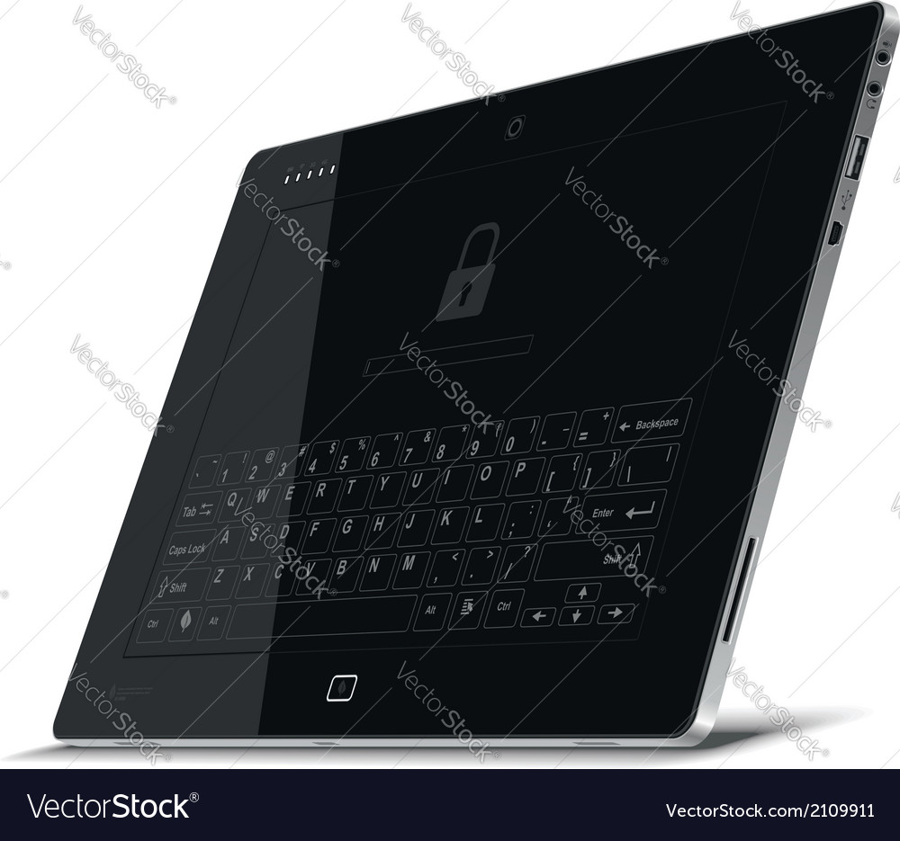 Tablet right side view leaning back vector | Price: 1 Credit (USD $1)