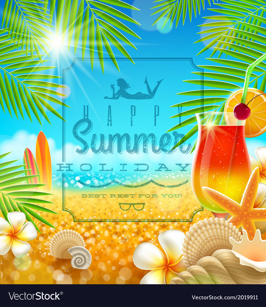Tropical summer vacation greetings design vector | Price: 1 Credit (USD $1)