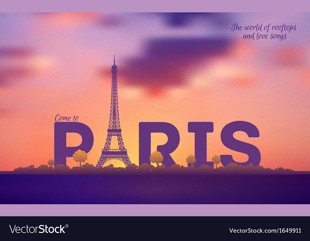 Typographical paris retro style poster vector | Price: 1 Credit (USD $1)
