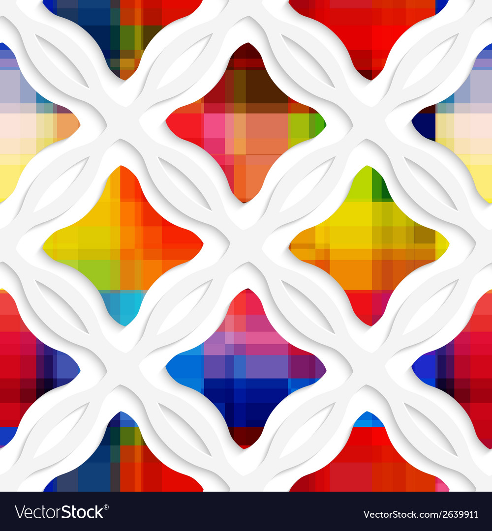 White wavy rectangles with rainbow and white net vector | Price: 1 Credit (USD $1)