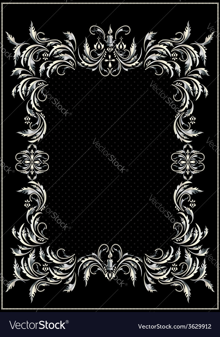 Antique silver frame with the decor vector | Price: 1 Credit (USD $1)