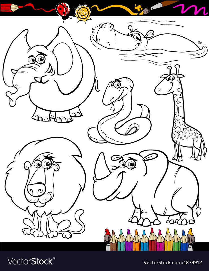 Cartoon animals set for coloring book vector | Price: 1 Credit (USD $1)