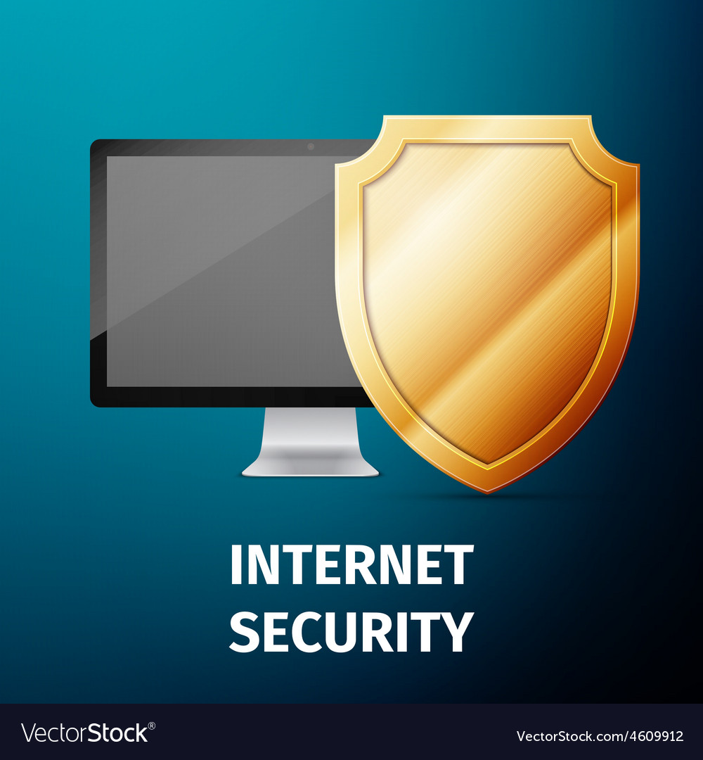 Computer display with shield - internet security vector | Price: 1 Credit (USD $1)
