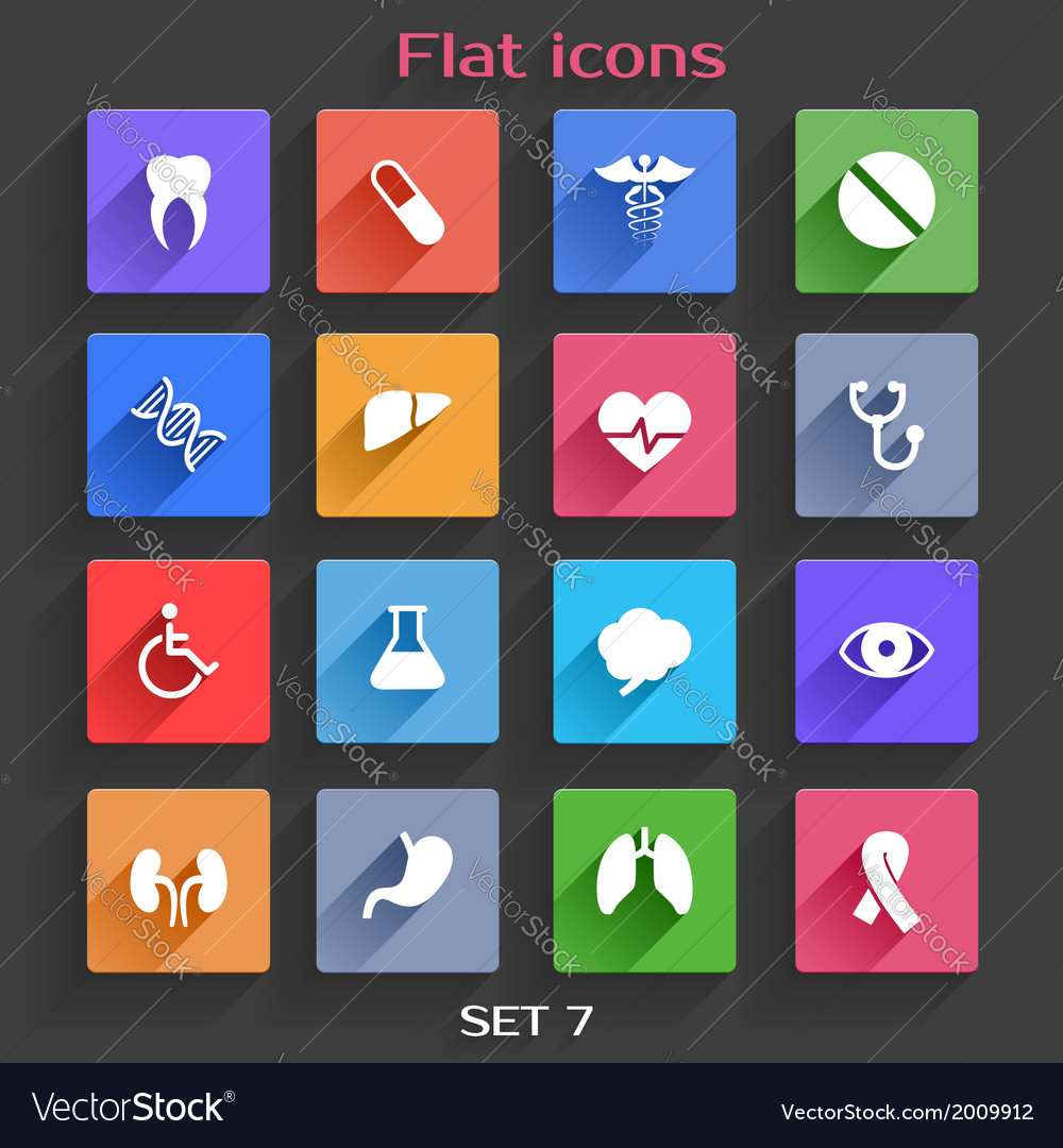Flat application icons set 7 vector | Price: 1 Credit (USD $1)