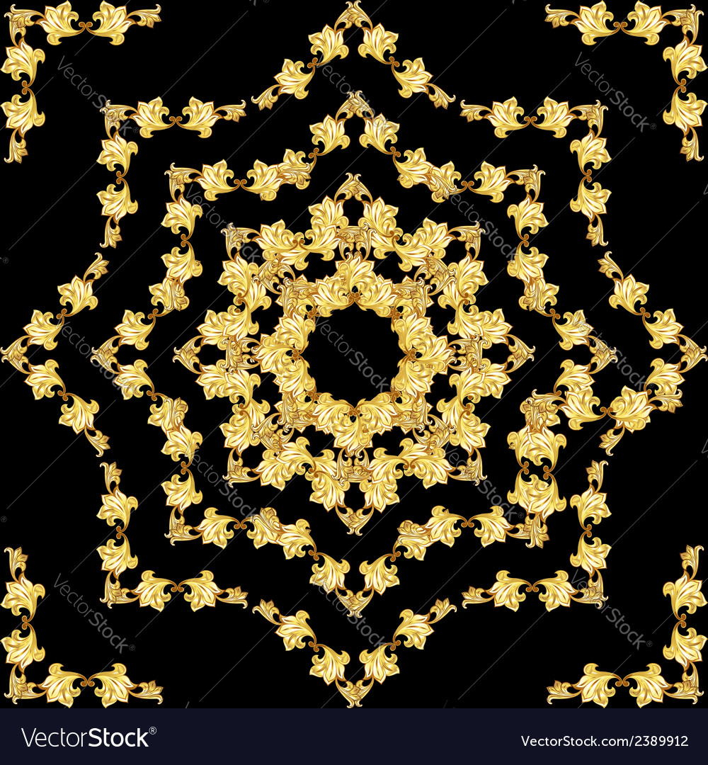 Golden flower pattern vector | Price: 1 Credit (USD $1)