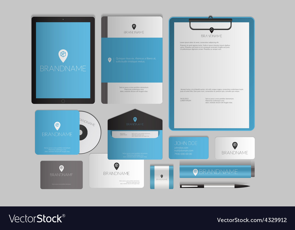 Modern corporate identity template design flat vector | Price: 1 Credit (USD $1)