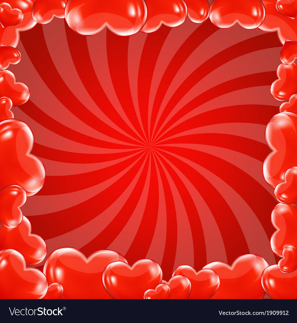 Red beams and hearts frame vector | Price: 1 Credit (USD $1)