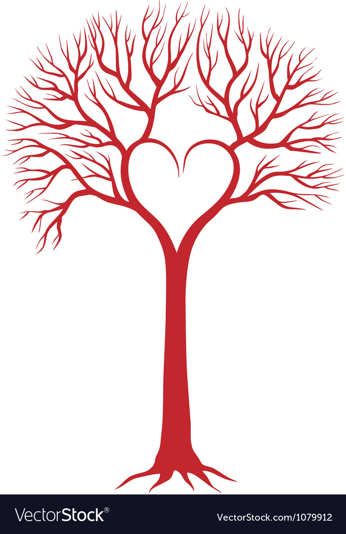 Red heart tree vector
