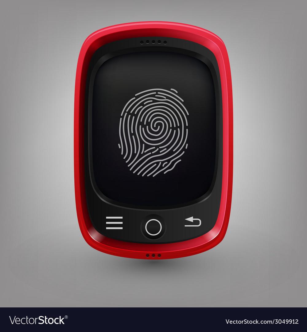 Red phone fingerprint vector | Price: 1 Credit (USD $1)
