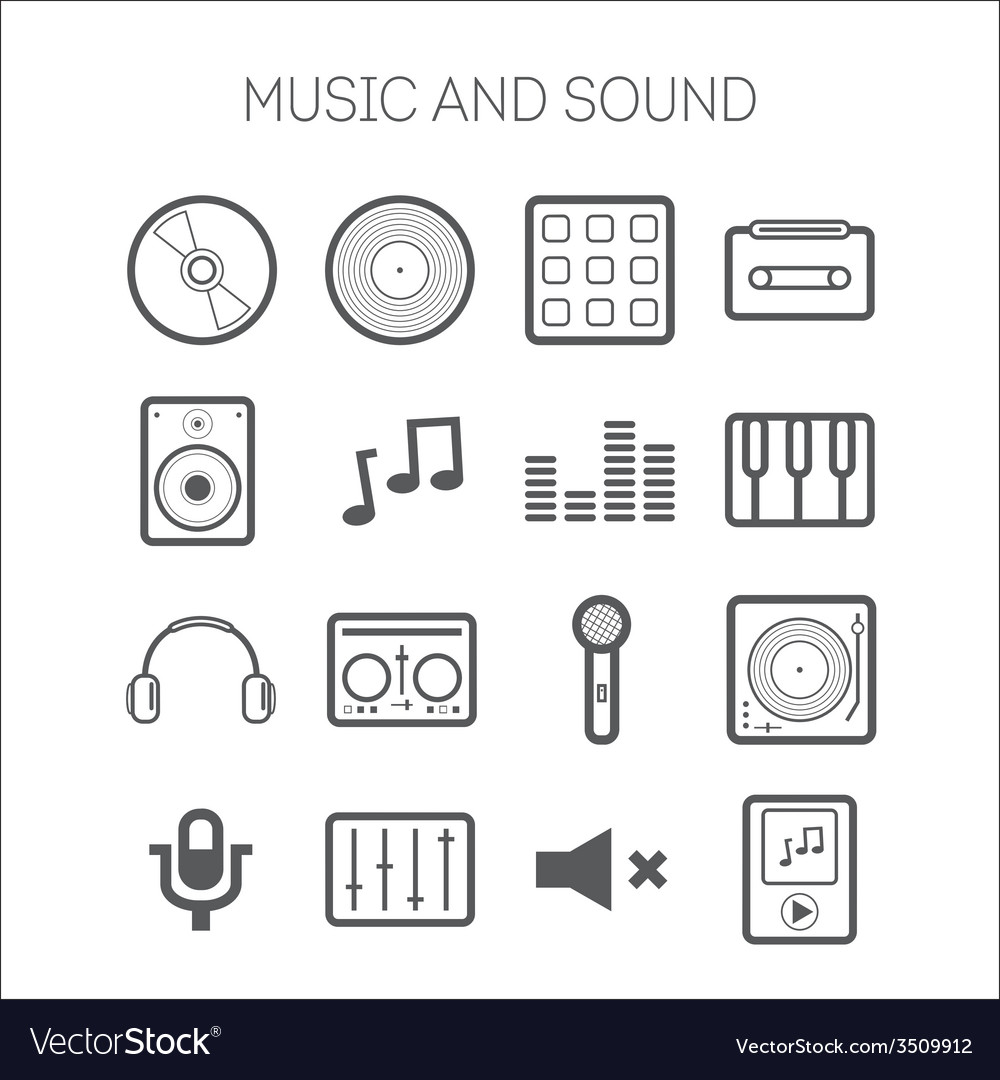 Set of simple icons with musical objects vector | Price: 1 Credit (USD $1)