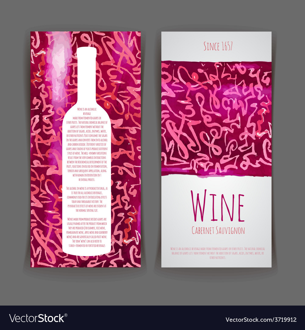Set of wine labels artistic watercolor backgroun vector | Price: 1 Credit (USD $1)