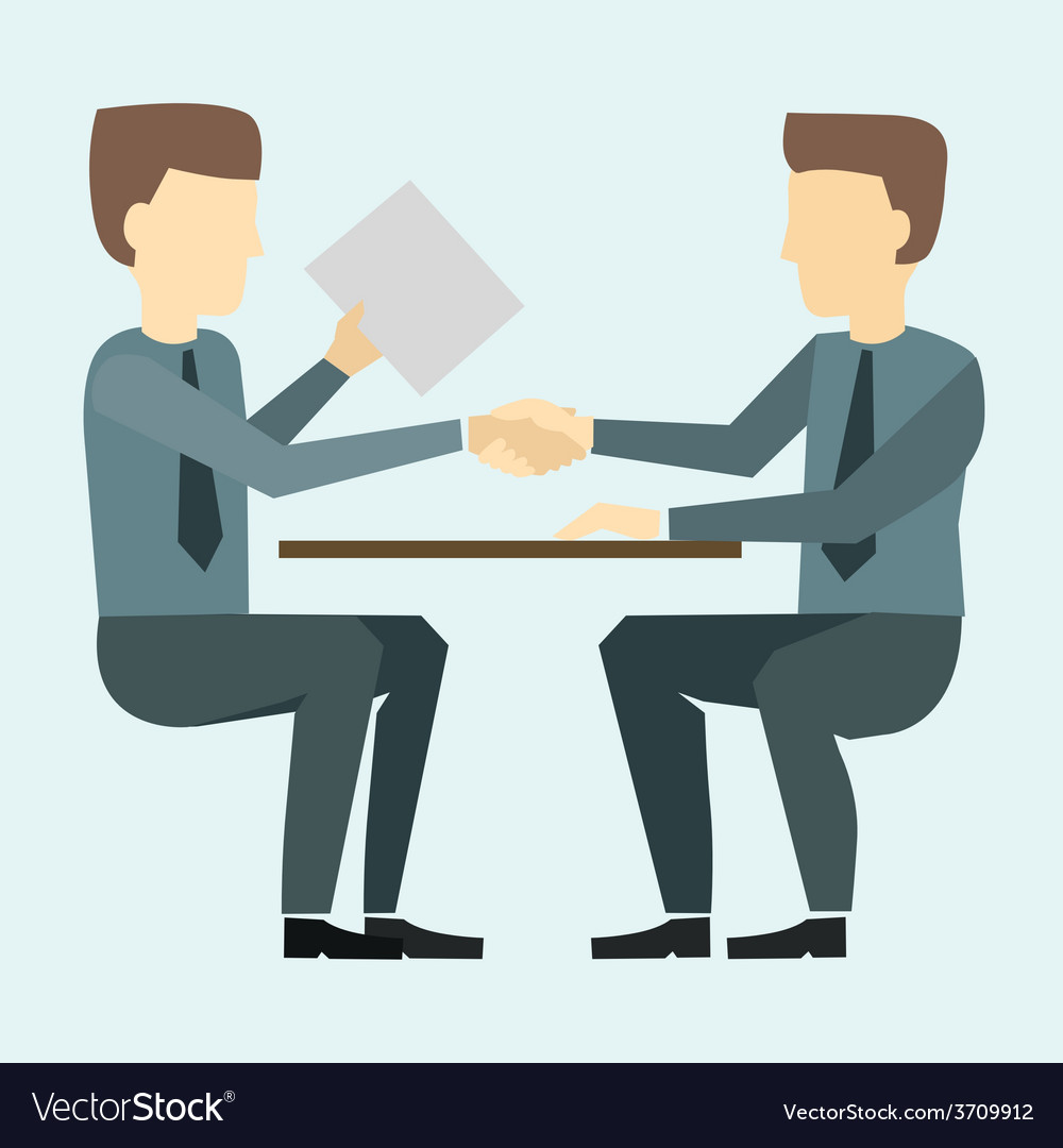 Two businessmen shaking hands and negotiate vector | Price: 1 Credit (USD $1)