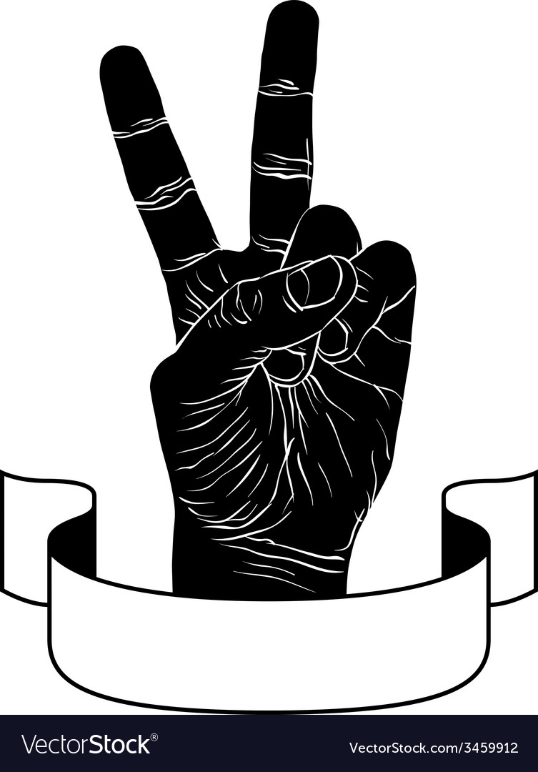 Victory hand sign with ribbon triumph emblem vector | Price: 1 Credit (USD $1)