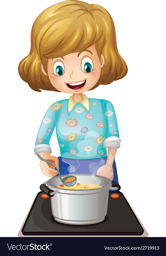 A happy mother cooking vector | Price: 1 Credit (USD $1)