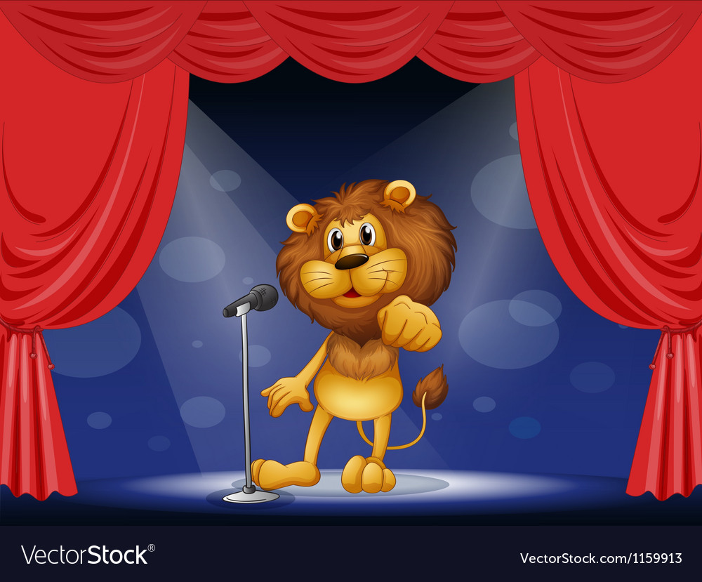 A lion standing in the limelight vector | Price: 1 Credit (USD $1)