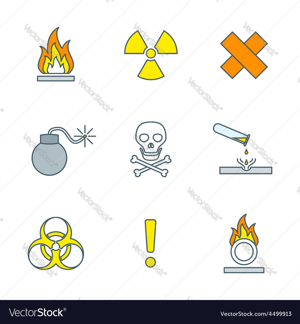 Colored outline hazardous waste symbols warning vector | Price: 1 Credit (USD $1)