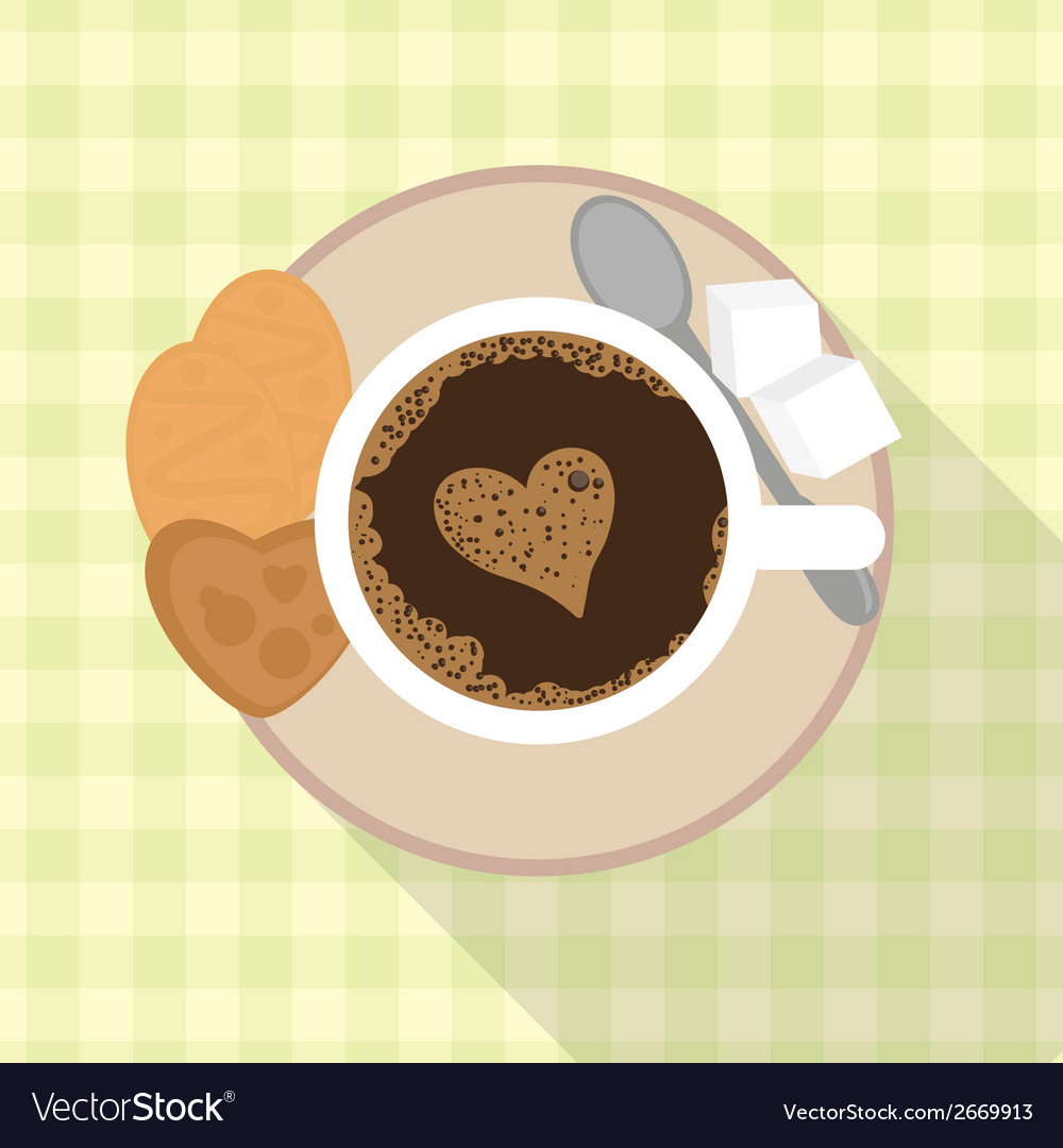 Cup of coffee with cookies and sugar vector | Price: 1 Credit (USD $1)