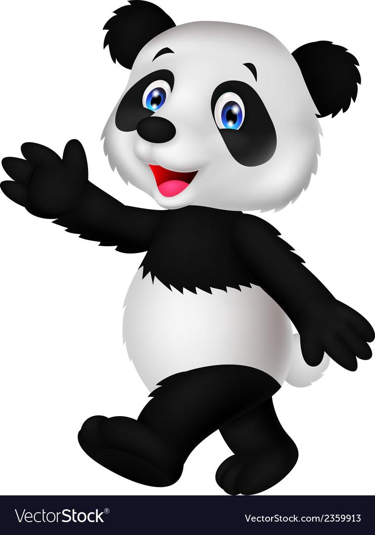 Cute panda cartoon waving hand vector | Price: 1 Credit (USD $1)