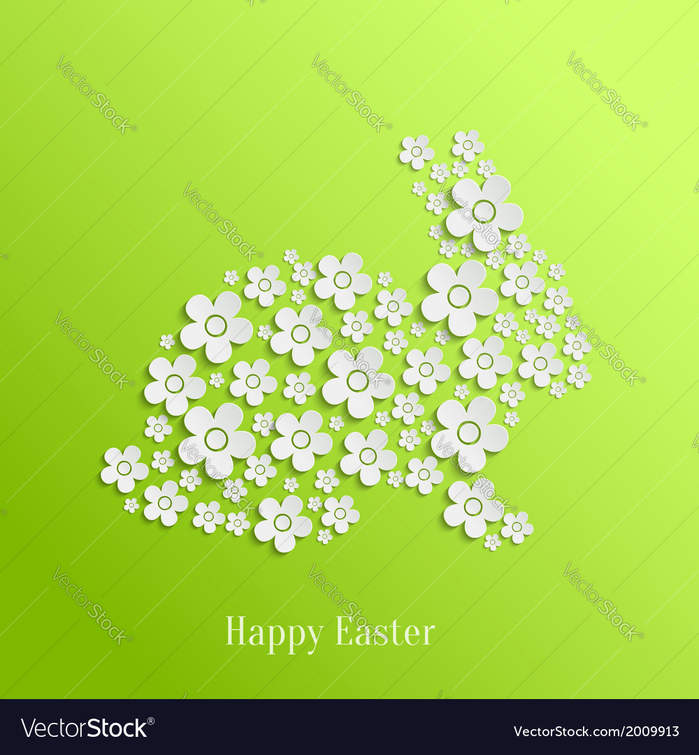 Easter rabbit bunny of white flowers vector | Price: 1 Credit (USD $1)
