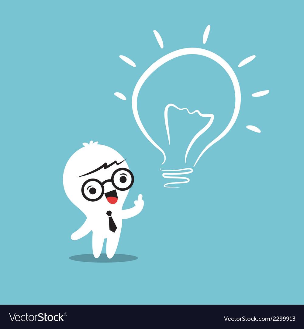 Eureka lightbulb idea cartoon vector | Price: 1 Credit (USD $1)