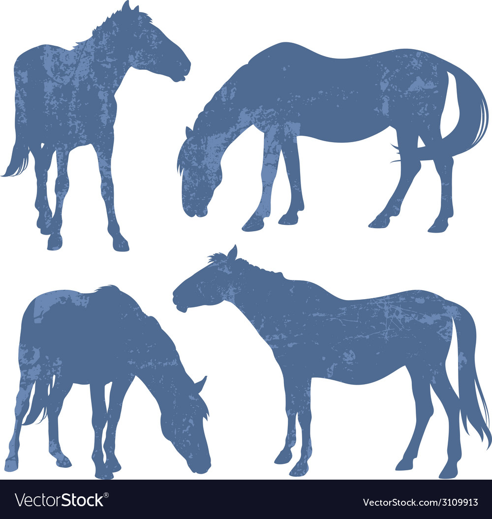 Grunge silhouettes of horses vector | Price: 1 Credit (USD $1)