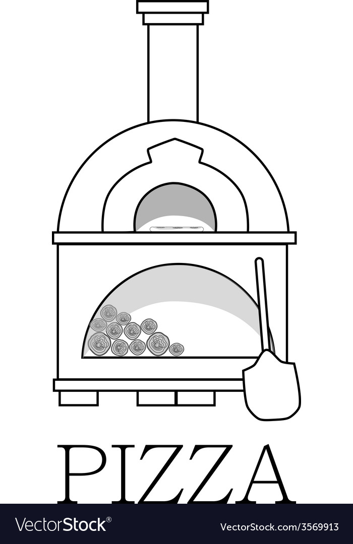 Pizza oven with text pizza outline drawing vector | Price: 1 Credit (USD $1)
