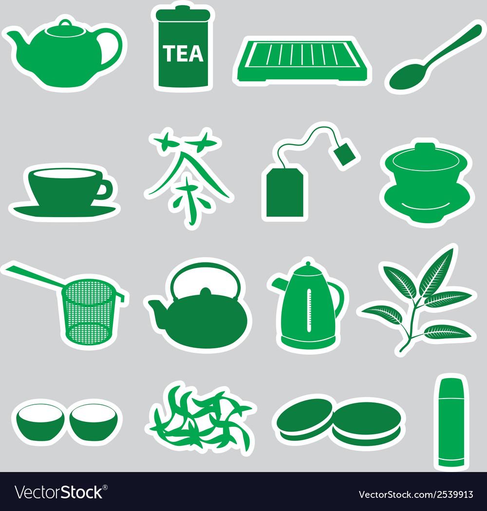 Tea stickers set eps10 vector | Price: 1 Credit (USD $1)