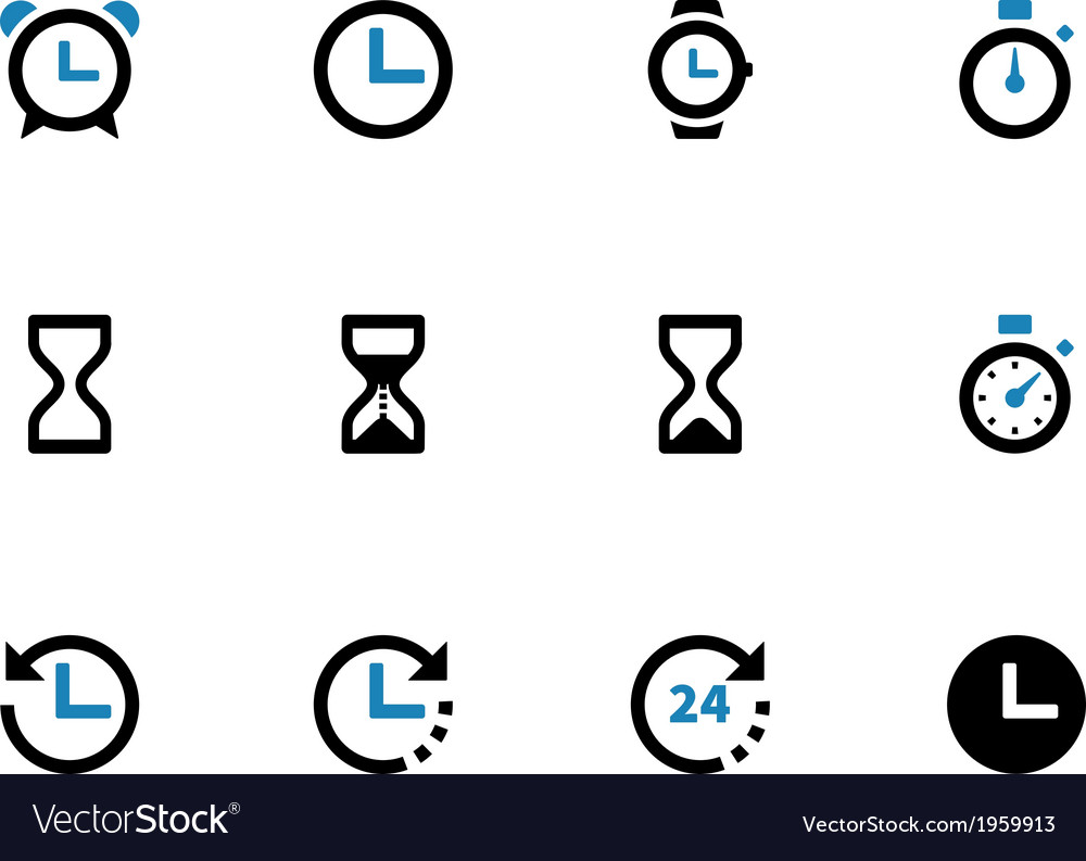 Time and clock duotone icons on white background vector | Price: 1 Credit (USD $1)
