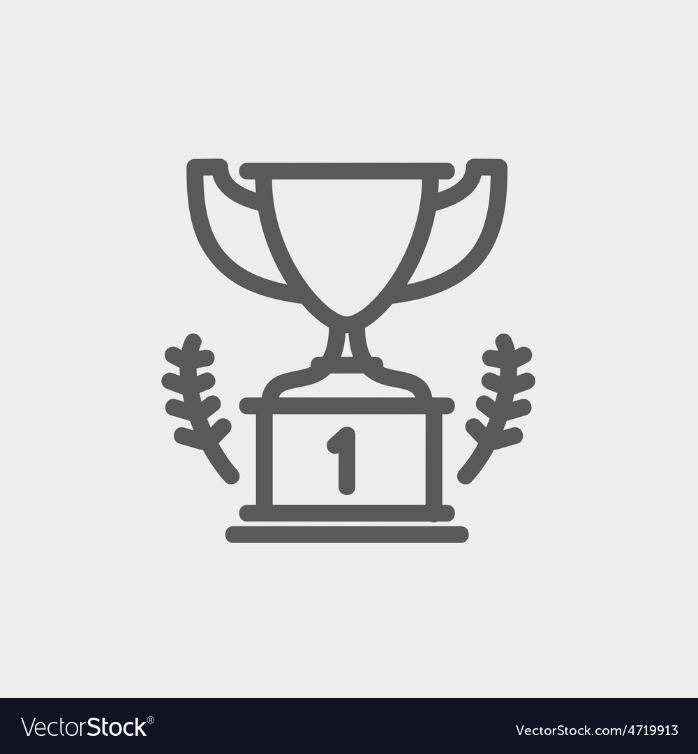 Trophy for first place winner thin line icon vector | Price: 1 Credit (USD $1)