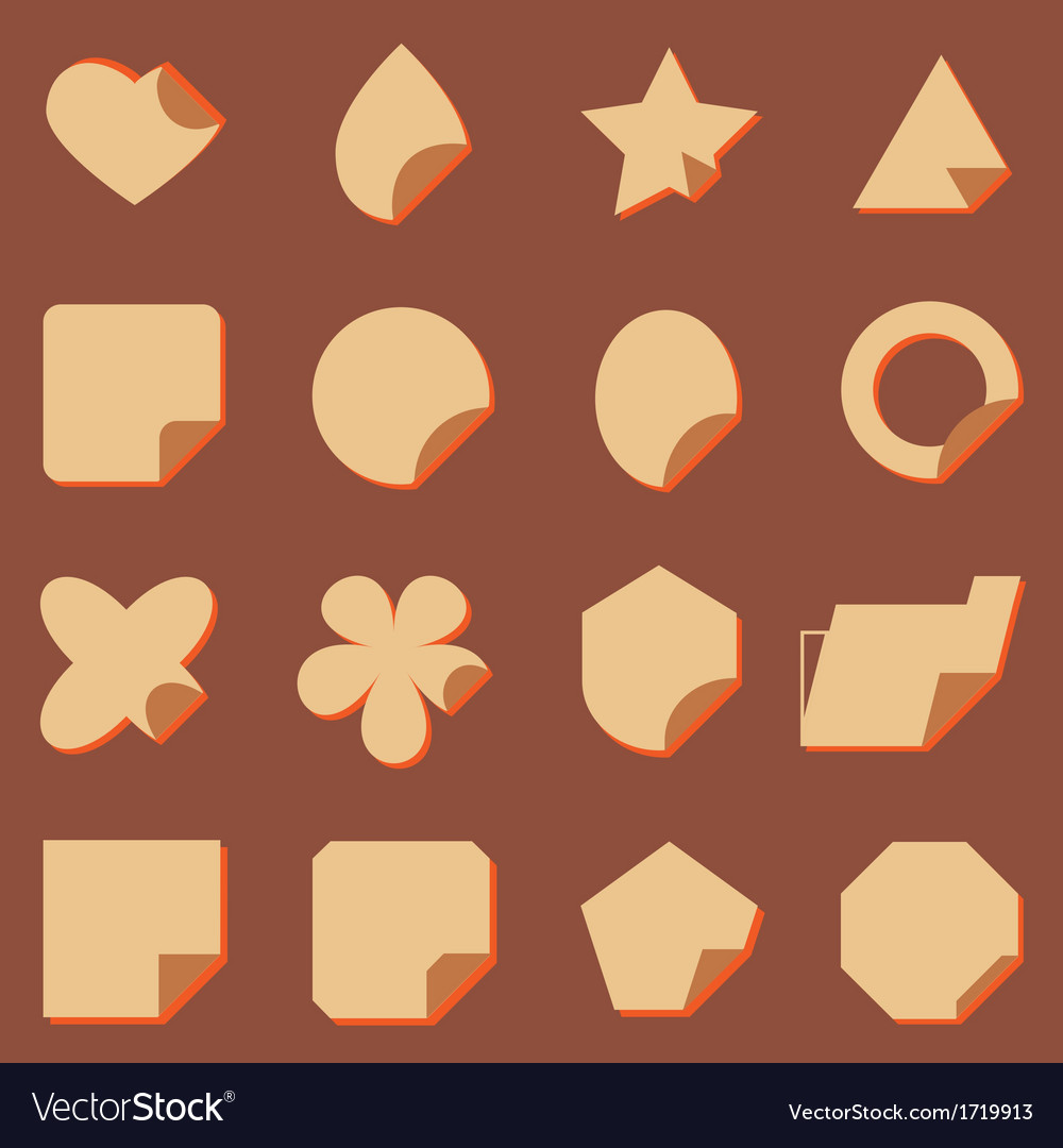 Vintage corner lebel icons with shadow vector | Price: 1 Credit (USD $1)