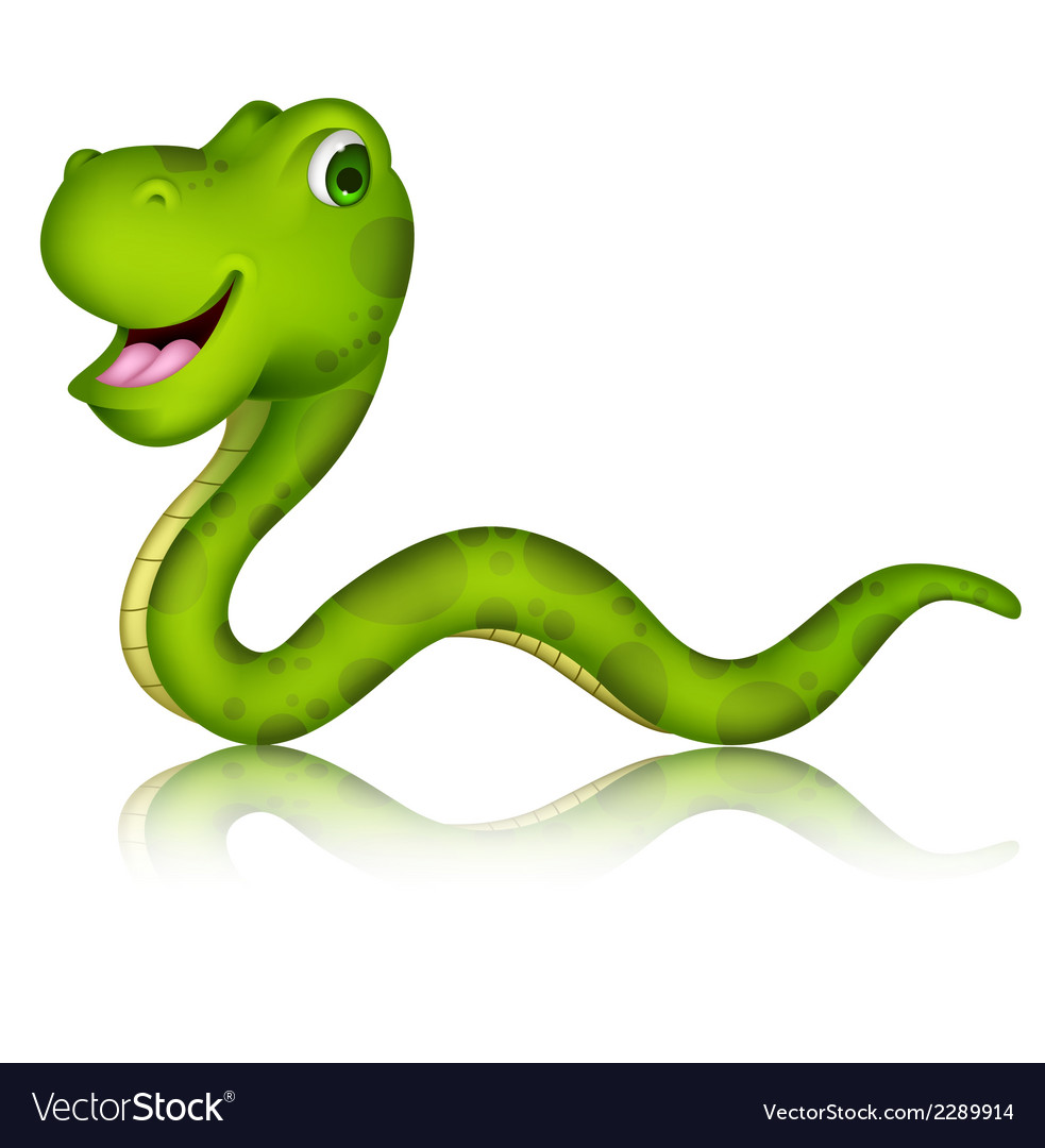 Cute green snake cartoon vector | Price: 1 Credit (USD $1)