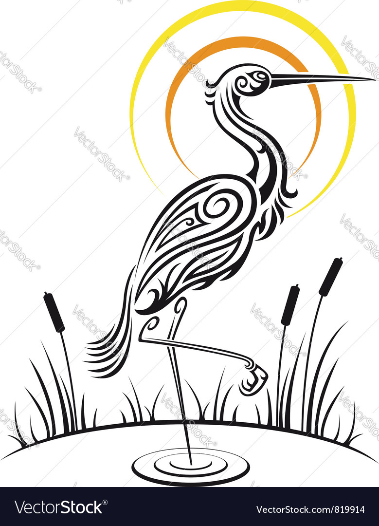 Heron bird background vector | Price: 1 Credit (USD $1)