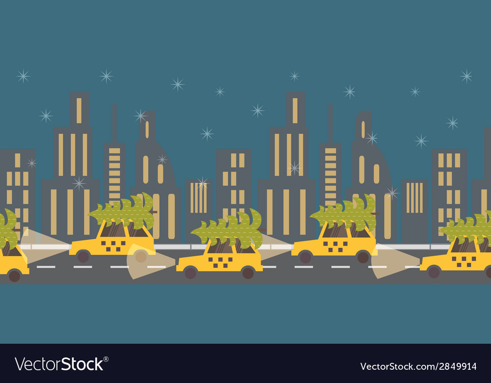 New year coming green tree on yellow taxi night vector | Price: 1 Credit (USD $1)