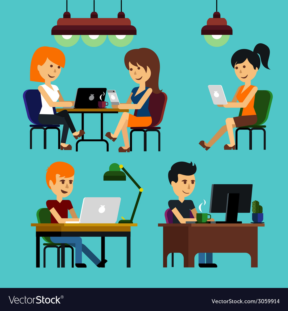 People sitting on chair at table in front of vector | Price: 1 Credit (USD $1)