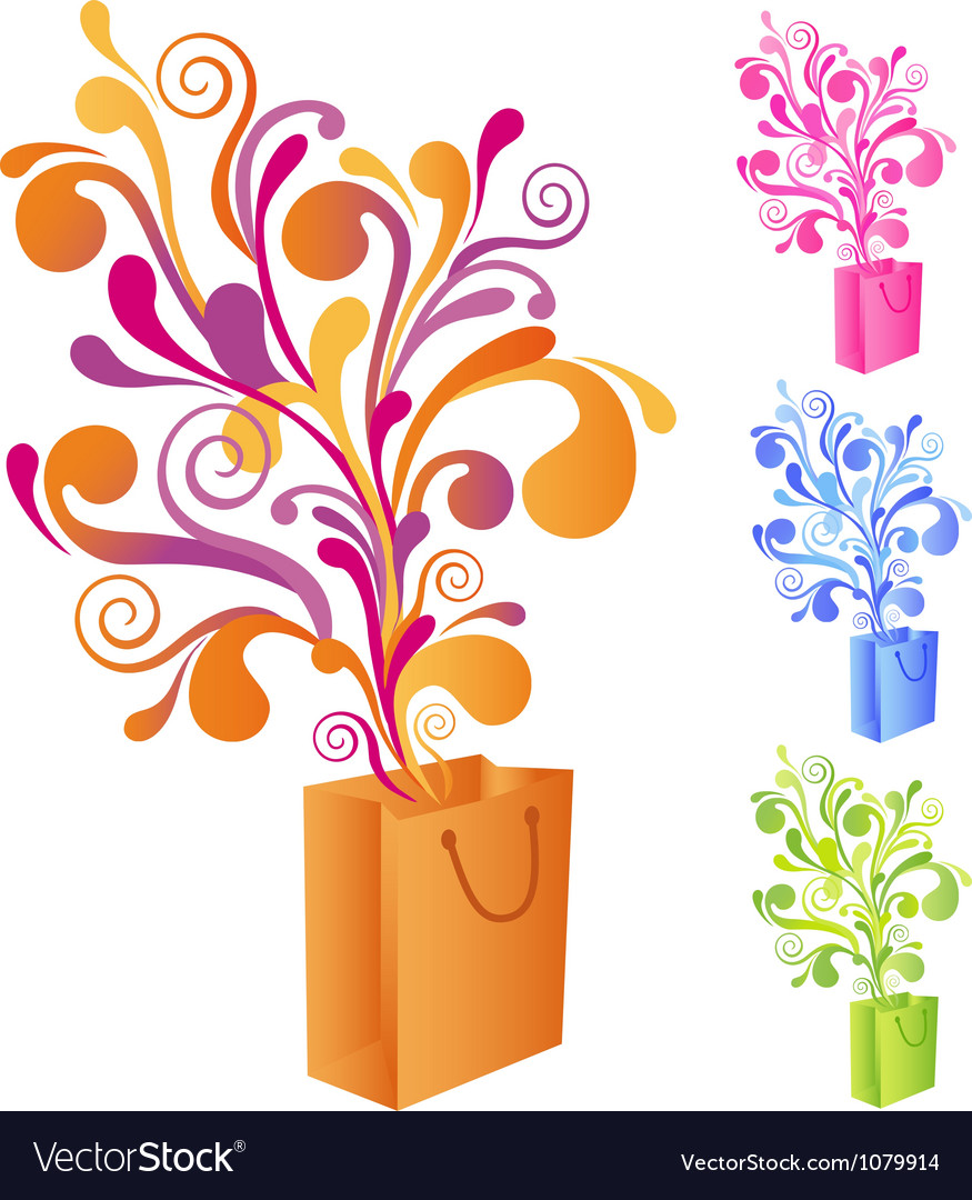 Shopping bag with swirly ornaments vector | Price: 1 Credit (USD $1)