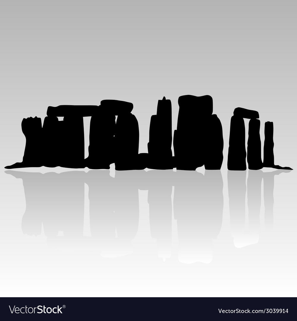 Stonehenge silhouette in black vector | Price: 1 Credit (USD $1)